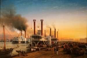 Image of Giant Steamboats at Sugar Levee, New Orleans