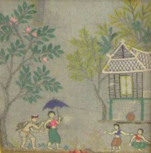 Image of Unknown (Village scene with trees)