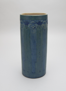 Image of Cylindrical Vase with Abstract Floral Design