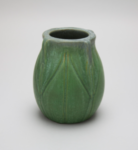 Image of Small Green Vase with Carved Leaf Design