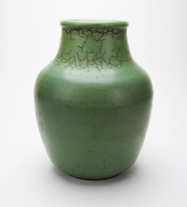 Image of Large Green Vase with Cracked Detail