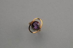 Image of Amethyst in Hand-wrought Gold Ring Setting